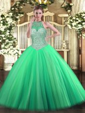 Glamorous Green Tulle Lace Up Ball Gown Prom Dress Sleeveless Floor Length Beading