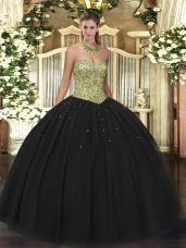 Black Tulle Lace Up Quinceanera Dress Sleeveless Floor Length Beading