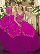 Clearance V-neck Sleeveless Zipper 15th Birthday Dress Fuchsia Taffeta and Tulle