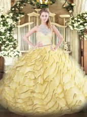 Gold Zipper Sweet 16 Dresses Lace and Ruffles Sleeveless Brush Train