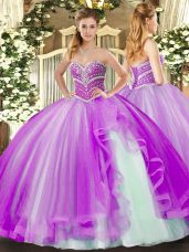 Glorious Lavender Sweetheart Lace Up Beading and Ruffles Sweet 16 Dresses Sleeveless