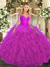 Fuchsia Ball Gowns Tulle Scoop Long Sleeves Lace and Ruffles Floor Length Lace Up Quinceanera Dresses