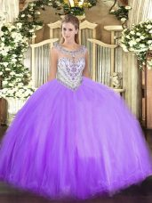 Nice Lavender Zipper Scoop Beading Quinceanera Dress Tulle Sleeveless
