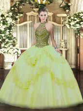 Light Yellow Halter Top Lace Up Beading and Appliques Vestidos de Quinceanera Sleeveless