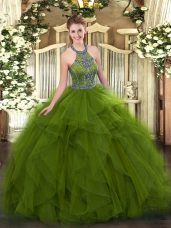 Fabulous Olive Green Halter Top Lace Up Beading and Ruffles Quinceanera Gowns Sleeveless