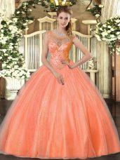 Chic Floor Length Orange Red Sweet 16 Dresses Tulle Sleeveless Beading