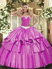 Shining Lilac Organza and Taffeta Lace Up Sweetheart Sleeveless Floor Length Sweet 16 Dress Appliques and Ruffled Layers