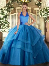 Tulle Halter Top Sleeveless Lace Up Ruffled Layers 15 Quinceanera Dress in Blue