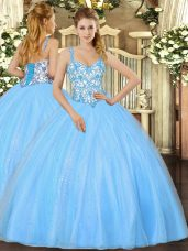 Baby Blue Sleeveless Beading and Appliques Floor Length Sweet 16 Dresses