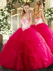 Hot Pink Ball Gowns Beading and Ruffles Quinceanera Dress Lace Up Tulle Sleeveless Floor Length