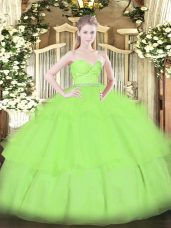 15 Quinceanera Dress Military Ball and Sweet 16 and Quinceanera with Beading and Lace and Ruffled Layers Sweetheart Sleeveless Zipper