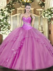 Lilac Sweetheart Lace Up Beading Sweet 16 Dresses Sleeveless
