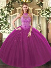 Custom Design Fuchsia Tulle Lace Up Halter Top Sleeveless Floor Length Ball Gown Prom Dress Beading and Embroidery