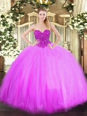 High End Lilac Sleeveless Tulle Lace Up Quinceanera Gown for Military Ball and Sweet 16 and Quinceanera