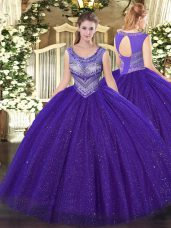 Beading Sweet 16 Dress Purple Lace Up Sleeveless Floor Length