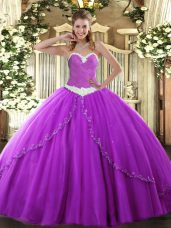 Purple Quinceanera Gowns Military Ball and Sweet 16 and Quinceanera with Appliques Sweetheart Sleeveless Brush Train Lace Up