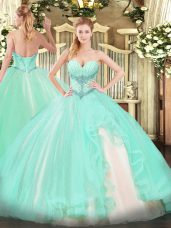 Modest Apple Green Sweetheart Lace Up Beading and Ruffles Quinceanera Gown Sleeveless