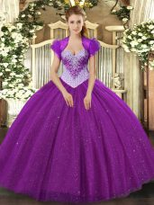 Stylish Eggplant Purple Tulle Lace Up Sweetheart Sleeveless Floor Length Ball Gown Prom Dress Beading and Sequins