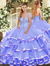 Lavender Organza Lace Up Strapless Sleeveless Floor Length Quinceanera Gowns Appliques and Ruffled Layers