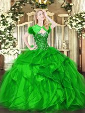 Green Organza Lace Up Sweetheart Sleeveless Floor Length Quince Ball Gowns Beading and Ruffles