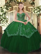 Sleeveless Floor Length Beading and Pattern Lace Up Vestidos de Quinceanera with Green