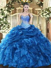 Sleeveless Organza Floor Length Lace Up Quinceanera Dress in Blue with Beading and Ruffles and Pick Ups