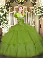 Designer Olive Green Tulle Lace Up 15 Quinceanera Dress Sleeveless Floor Length Beading and Ruffled Layers