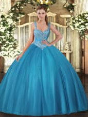 Sexy Straps Sleeveless Quince Ball Gowns Floor Length Beading Teal Tulle