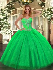 Ideal Green Lace Up Sweetheart Beading Quinceanera Dresses Tulle and Sequined Sleeveless