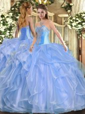 Eye-catching Floor Length Baby Blue Quinceanera Gown Organza Sleeveless Beading and Ruffles