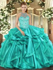 Halter Top Sleeveless Organza Ball Gown Prom Dress Beading and Embroidery and Ruffles Lace Up