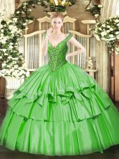 Delicate Quinceanera Dress Military Ball and Sweet 16 and Quinceanera with Beading and Ruffled Layers V-neck Sleeveless Lace Up