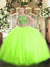 Lovely Floor Length 15th Birthday Dress Tulle Sleeveless Beading