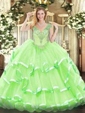 Sweet Sleeveless Beading and Ruffled Layers Floor Length Quinceanera Gown