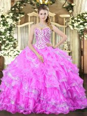 Edgy Ball Gowns Vestidos de Quinceanera Lilac Sweetheart Organza Sleeveless Floor Length Lace Up