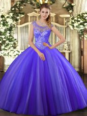 Fantastic Lavender Sleeveless Tulle Lace Up Vestidos de Quinceanera for Sweet 16 and Quinceanera