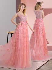 Pink V-neck Zipper Beading and Appliques Prom Dresses Sweep Train Sleeveless