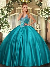 Teal Straps Lace Up Beading Vestidos de Quinceanera Sleeveless