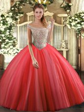 Coral Red Lace Up Off The Shoulder Beading Quinceanera Gowns Tulle Sleeveless