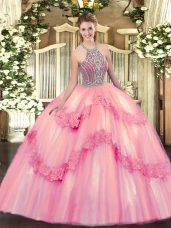 Spectacular Ball Gowns 15 Quinceanera Dress Baby Pink Halter Top Tulle Sleeveless Floor Length Lace Up