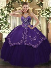 Cute Purple Ball Gowns Sweetheart Sleeveless Taffeta and Tulle Floor Length Lace Up Pattern Quinceanera Dresses