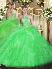 Lovely Organza Halter Top Sleeveless Lace Up Beading and Ruffles Sweet 16 Dresses in