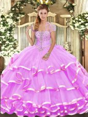 Lilac Ball Gowns Strapless Sleeveless Organza Floor Length Lace Up Appliques and Ruffled Layers Sweet 16 Dresses