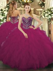 Charming Tulle Sweetheart Sleeveless Lace Up Beading and Ruffled Layers 15 Quinceanera Dress in Fuchsia