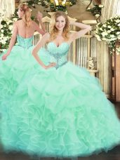 Dazzling Floor Length Apple Green Vestidos de Quinceanera Organza Sleeveless Beading and Ruffles and Pick Ups