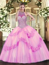 Fantastic Sleeveless Lace Up Floor Length Beading and Appliques Sweet 16 Quinceanera Dress