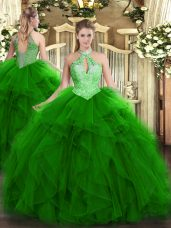 Floor Length Green 15 Quinceanera Dress Halter Top Sleeveless Lace Up