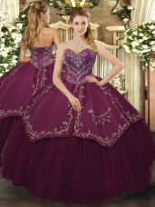 Floor Length Lace Up Quince Ball Gowns Burgundy for Military Ball and Sweet 16 and Quinceanera with Beading and Pattern