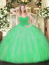 Ideal Apple Green Sleeveless Ruffles Floor Length Quinceanera Gowns