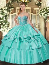 Apple Green Sweetheart Lace Up Beading and Ruffled Layers Quinceanera Gowns Sleeveless